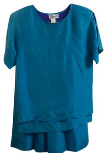 Prophesy 100% Silk Dress Suit-Shirt and Skirt-Beautiful Bluish/Teal Color