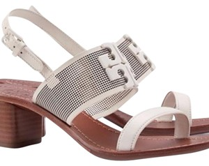 Tory Burch Leather Block Heel Slingback White Sandals