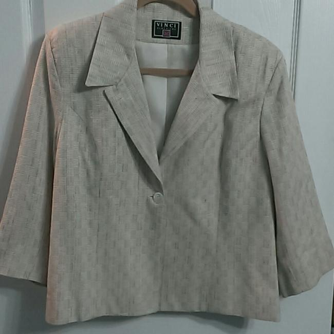 Vinci Clothiers Beautiful and Professional Skirt/Jacket Set-Cream Colored with Hints of Teal, Pink, Coral, and Brown Image 1