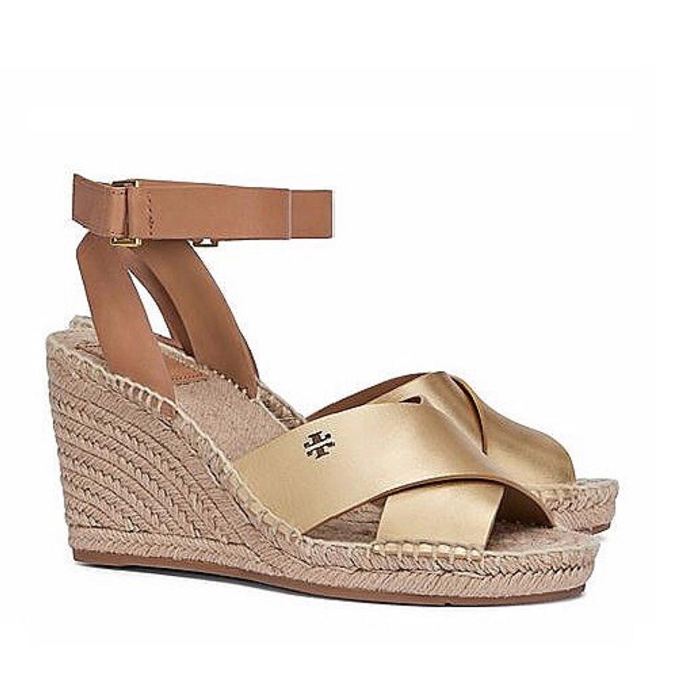 a8819d2ba2f Tory Burch Gold Royal Tan Bima Leather Espadrille Sandal Wedges Size ...