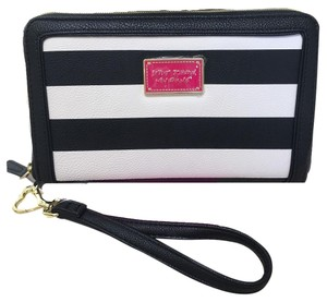 Betsey Johnson Black/bone striped oversized zip around wallet