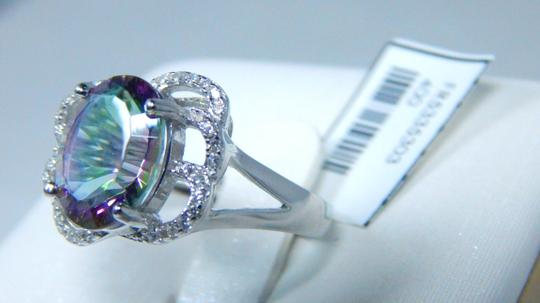 Mystic Sterling Silver. Attractive Oval shape Starburst cut Mystic quartz Ring CZ'S in six Loop Rows surrounding the main stone in Shank/Split-Shank Sterling Silver Image 2