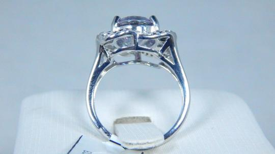 Mystic Sterling Silver. Attractive Oval shape Starburst cut Mystic quartz Ring CZ'S in six Loop Rows surrounding the main stone in Shank/Split-Shank Sterling Silver Image 3