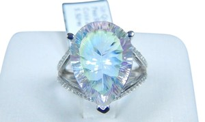 Mystic Sterling Silver. Dazzling Pear shape Starburst cut Sea mist quartz Ring in Shank/Split-Shank