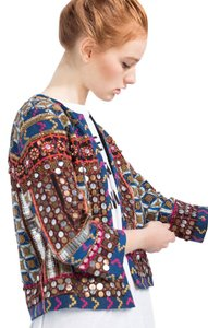 Zara Embroidered Embellished Coat Small Multicolor Jacket