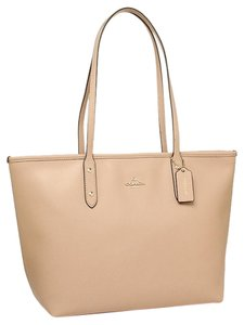 Coach Crossgrain Leather Designer Satchel in Nude
