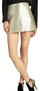 Alice + Olivia Metallic Lame Mini Skirt Gold