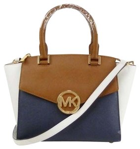Michael Kors Satchel in Navy White Luggage