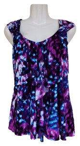 Worthington Ruffle Purple Blue Top purple, blue, white