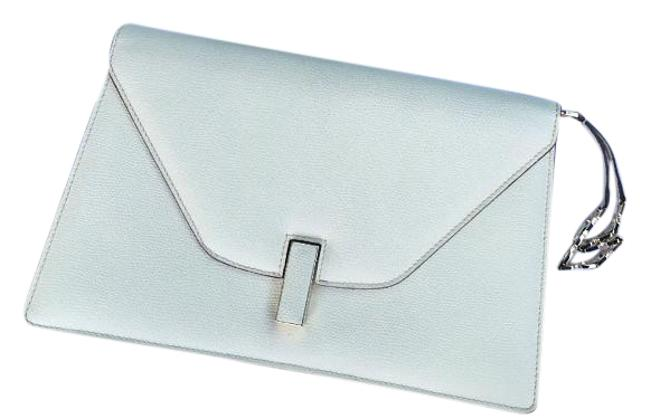 Item - Envelope White/Cream Grained Leather Clutch