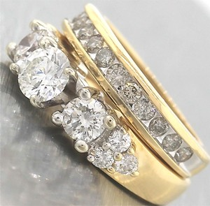 Ladies 14k Yellow White Gold 2.10ctw Diamond Engagement Wedding Ring Band Set