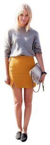Acne Studios Wool Zipper Crepe Mini Skirt Mustard