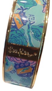 Lilly Pulitzer Vintage Pattern Print Gold Tone Blue Bangle Bracelet
