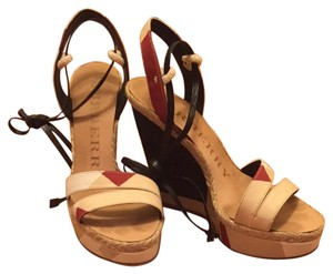 Burberry Red, Black, and Cream Wedges