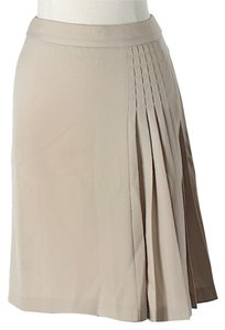 Dolce&Gabbana Pleated Virgin Wool Skirt Beige