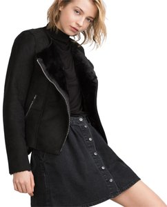 Zara Biker Moto Faux Fur Coat Black Jacket