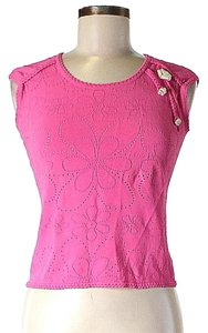 Escada Cropped Textured Top Pink