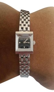 Gucci Gucci square black dial with diamond markers silverton stainless steel