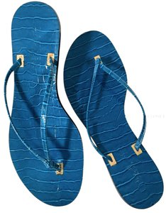 Ralph Lauren Casual Outing Studded Gold Hardware Beach Teal Blue Sandals