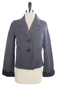 Talbots Striped Suit Jacket BLUE / GRAY Blazer