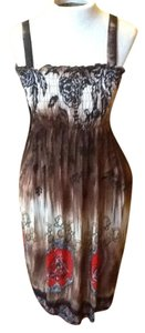 Other short dress Brown, cream, red Rich Colors Flowy on Tradesy