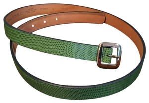 Banana Republic Green Leather Belt with Snakeskin Pattern