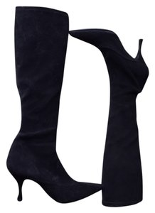 Stuart Weitzman Designer Tall Shaft Black Suede Boots