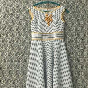 London style collection short dress White with Grey and yellow stripes on Tradesy