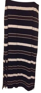 White House | Black Market Striped Side Slits Maxi Skirt Black White Brown