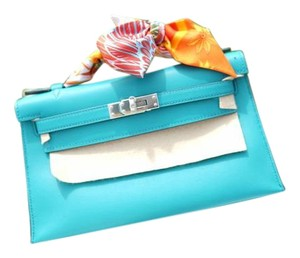 Hermès Kelly Cut Hermes Blue Paon Clutch