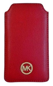 Michael Kors Michael Kors Fulton Pebbled Leather Phone Case Fits iPhone 6 NWT Red