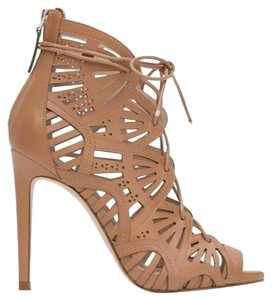 Zara Lace Up Strappy Leather Stiletto Nude Sandals