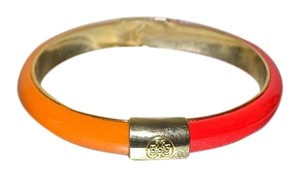 Tory Burch New TORY BURCH Two Tone Resin Bangle Bracelet Gold TT Logo Orange Red