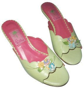 Lilly Pulitzer Slides Pink Flowers Green Mules