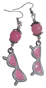 Other Silver Pink White Sunglasses Charm Earrings A88
