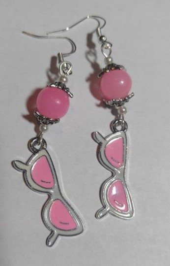 Other Silver Pink White Sunglasses Charm Earrings A88 Image 1