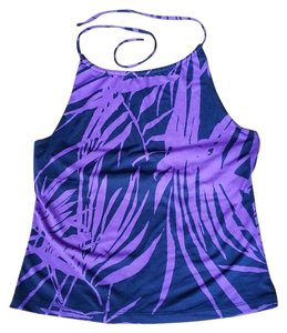 New York & Company Purple and Black Halter Top