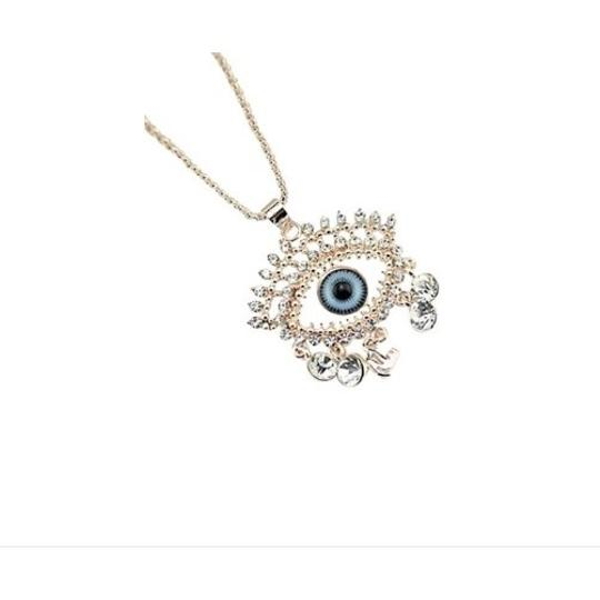 Other 18K Rose Gold Plated 2PC Evil Eye Pendant & Chain Necklace SET with CZ CRYSTAL Image 1