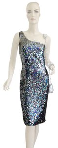 Calvin Klein Silver/black Sequin Assymetrical Evening Cocktail Dress