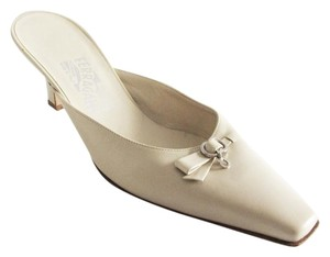 Salvatore Ferragamo Leather Gancini Charm Heels Cream Mules