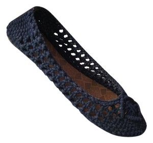 Lucky Brand Crochet Knit Navy Blue Flats