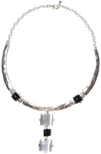 Other Pendant Resin Statement Hammered Pewter Collared Necklace
