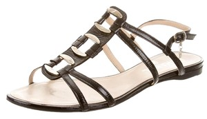 Chanel Strappy Silver Hardware Patent Leather Interlocking Cc Chain Black, Silver Sandals