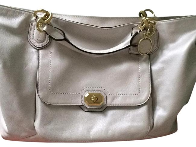 Item - Silver/Pearl White Leather Laptop Bag