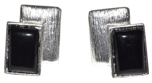 Other Brushed Pewter Resin Jeweled Clip On Earrings