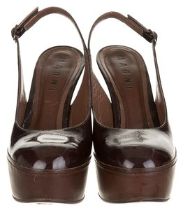 Marni Patent Leather Wedge BROWN Wedges