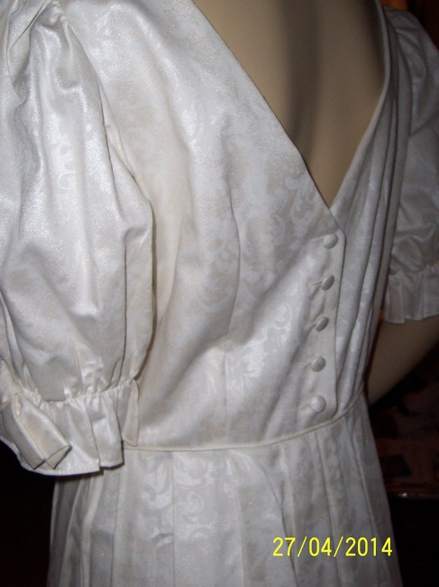 Laura Ashley Covered Buttons Sleeves With Bow Dress