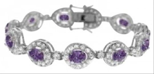 Other Simulated Diamond and Amethyst cz Teardrop Tennis Bracelet