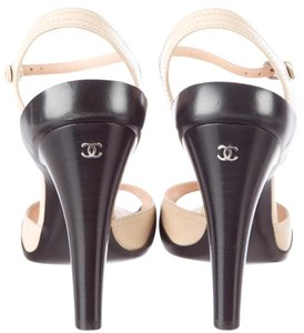 Chanel Peep Toe Interlocking Cc Logo Slingback Silver Hardware Beige, Black Pumps