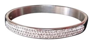 Stainless Steel and Crystal Bangle Bracelet